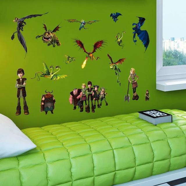 Стикер стены как приручить дракона бесплатная доставка 2015 Новый стиль мультфильм 1427 декоративные виниловые на стены мальчика декор