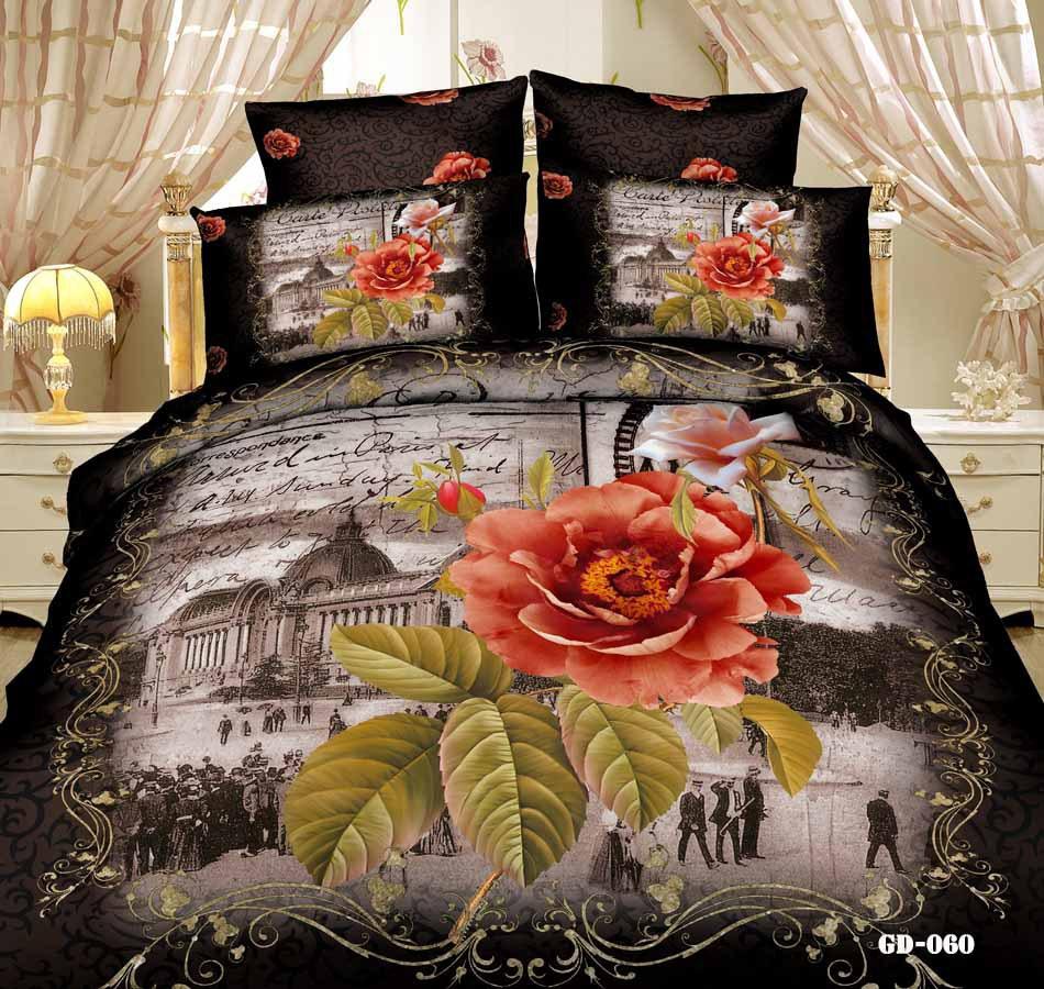 3D Paris black floral bedding comforter set sets queen king size duvet cover bed fitted sheet sheets bedspread quilt 100% cotton(China (Mainland))