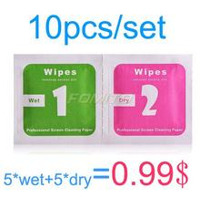10pcs/set=5*Wet+5*Dry Camera Lens LCD Screens Dust Removal Wet Dry Cleaning Cloth Wipes Papers for camera for phone