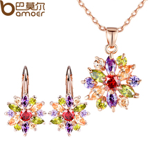 BAMOER Luxury 18k Gold Plated Flower Jewelry Sets For Women Wedding with AAA Cubic Zircon(China (Mainland))