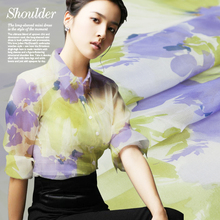Printed pure silk fabric, Organza fabric, Chinese ink floral pattern,sew for top, shirt, blouse, skirt,dress,pants,craft by yard(China (Mainland))
