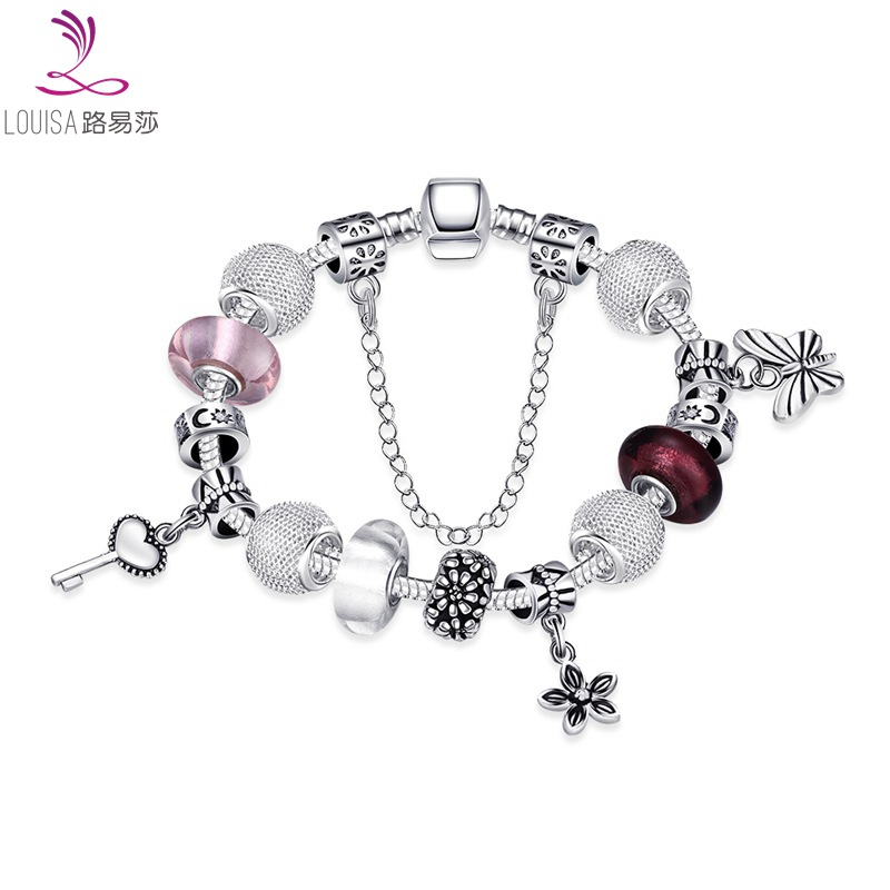 Hand Made Silver Charm Bracelets cute Style bracelet bling bling glasss beads Bracelet Purple Murano Glass Bead Bangle LF-10110(China (Mainland))