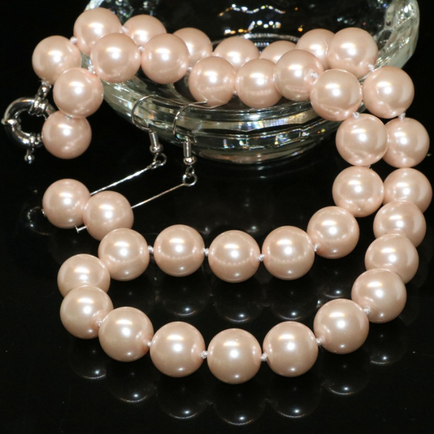 Free shipping new arrival 12mm lovely pink simulated-pearl shell round beads necklace earrings women jewelry set 18inch  B2326