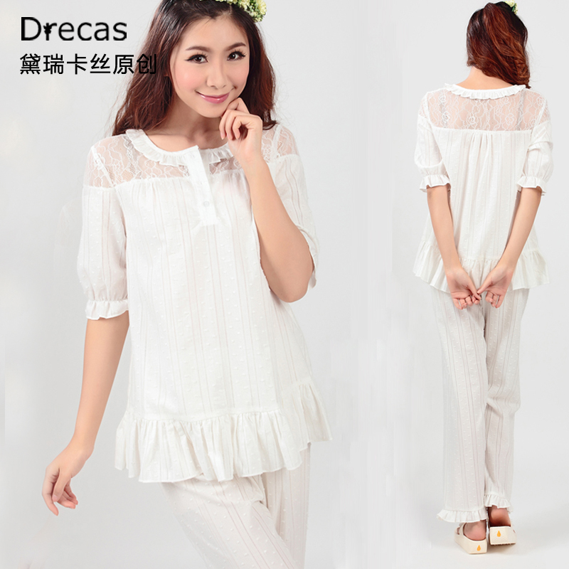 Princess lounge womens spring and summer white 100% cotton lace short sleeve length pants sleep setОдежда и ак�е��уары<br><br><br>Aliexpress