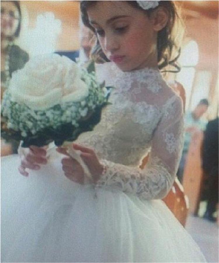 Cute Ball Gown Flower Girls Dress High Neck Back Zipper Long Sleeve Kids Formal Dress Tulle Little Girls Dress Floor Length A41(China (Mainland))