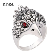 Hot Punk Animal Ring New Fashion Eagle Head Plating Silver Vintage Jewelry Inlay Black Crystal Rings For Man Wholesale Jewelry(China (Mainland))