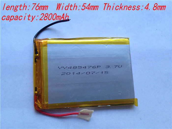 2pcs/lot 3.7V 2800 mAh Polymer rechargeable Lithium Li ion Battery For GPS ipod PSP Tablet PC Mobiles Backup Power 485476(China (Mainland))