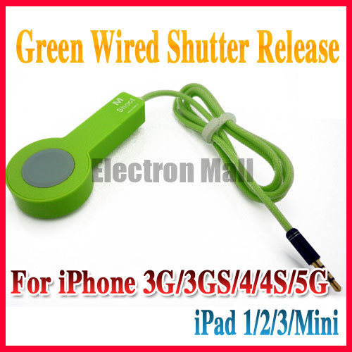 FREE SHIPPING! Green 1M Length Wired Remote Control Shutter Release Cable for Apple iPad 1/2/3 iPad Mini iPhone 3G 4G 4GS 5G(China (Mainland))