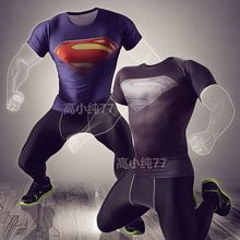 2016 Avengers Superman Sport Compression Shirt+Tights Leggings Base Layer Pants Gym Clothing Short Sleeve Fitness Running Suit