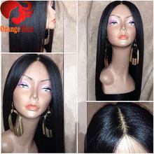 4x4 Silk Base Italian Yaki /Kinky Straight Virgin Peruvian Human Hair Lace Front/ Full Lace Wigs With Silk Top(China (Mainland))