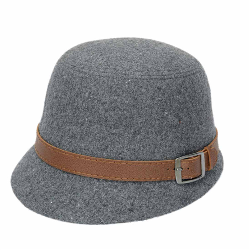 Durable 2015 Hot!!! Summer Style Fashion Solid Color Women Belt Buckle Bowler Fedora Hat Fast Shipping(China (Mainland))