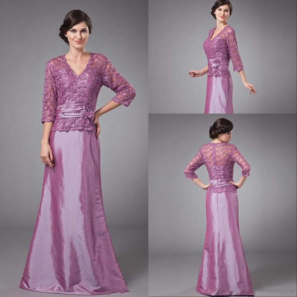 Hot sale taffeta cheap plus size purple mother of the for 3 4 sleeve wedding guest dress