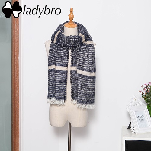 Ladybro Winter Knit Women Scarf Brand Fashion Large Pashmina Soft Warm Stripe Lady Designer Scarf Pink Female Long Shawl Wrap