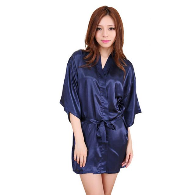 Темно-синий 2016 краткое стиль женские шелковый халат кимоно платье свадебное ну ...