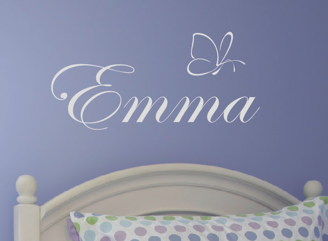 Personalized baby girl princess Name gift wall sticker,Nursery Monogrammed Butterfly vinyl decal glue for Girls bedroom Decor(China (Mainland))