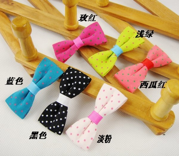 Freeshipping!Wholesale,New Cute Cotton fabric Dots Bow Hair clips/Kids/Children/Baby/Girl/Princess/Hair Pins/Hair Accessories