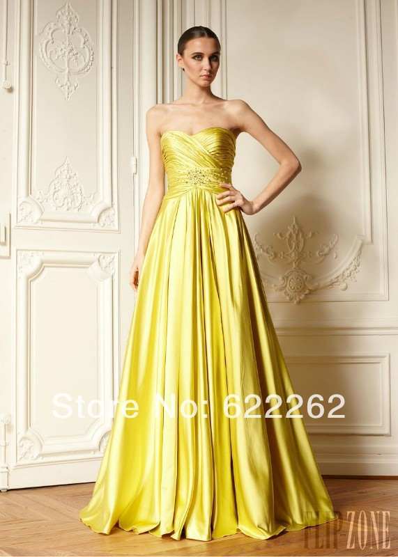 Hot sale a line sweetheart prom dresses floor length for Yellow wedding dresses for sale