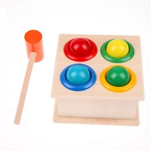 Free Shipping Good Quality Nice Gift Hammering Wooden Ball Hammer Box Children Early Learning Educational Toys(China (Mainland))