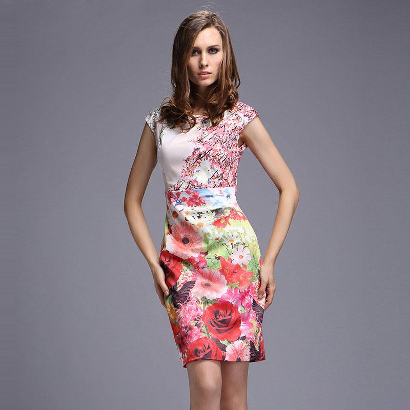 Women brand summer bodycon dress 2016 new European vestidos vintage flower print short sleeve sheath slim hip midi dresses J706