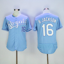 16 Bo Jackson Flexbase Jersey Blue White Gray(China (Mainland))
