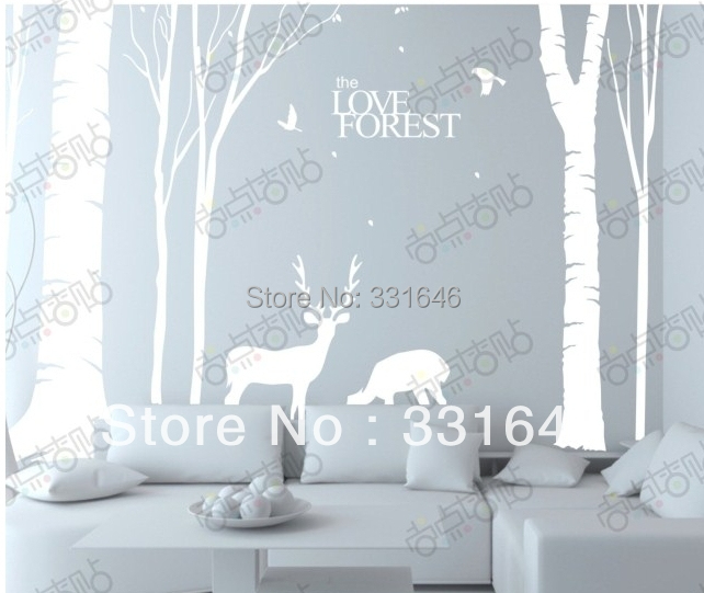 Large size 200*310 CM forest fawn tree white color Wall Stickers kids room home decals/mural/decoration - Amy Handmade Store store