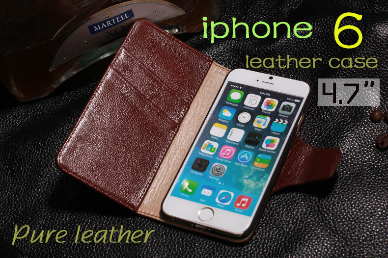 Pure leather 4.7inch Case for apple iphone 6 cell phone case Luxury Soft Wallet Leather Cover for iPhone6 i6 Grade Business(China (Mainland))