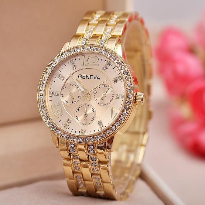 Fashion Geneva Watches Women Luxury Brand 2015 New Generous Diamond Dial Stainless Steel Wristwatch Casual Quartz Watch Relogio