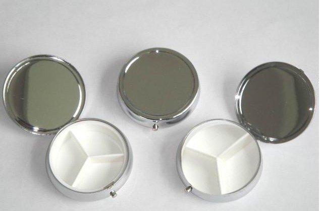 Metal Pill boxes DIY Medicine Organizer container silver-Free Shipping