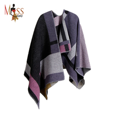 2016 autumn winter Women Fashion cashmere blanket style cape shawl sweater Contrast Color ladies Woolen Poncho cloak TOP quality(China (Mainland))