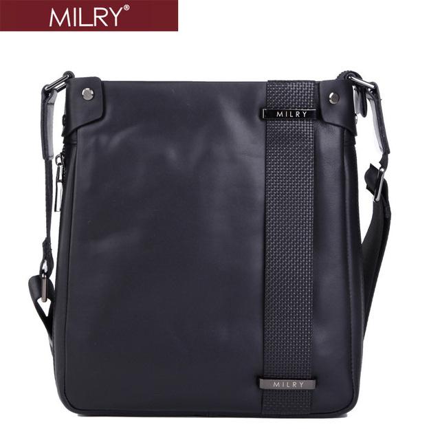 New 2014 Brand MILRY 100% Genuine Leather shoulder bag for men Messenger Bag cross body quality business bag Black CS0005-1