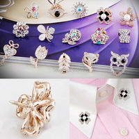 15 Styles Vintage Mini Crystal Rhinestone Bride Brooch Pins For Women Gold Wedding Brooch Small Collar clip Thorn pin