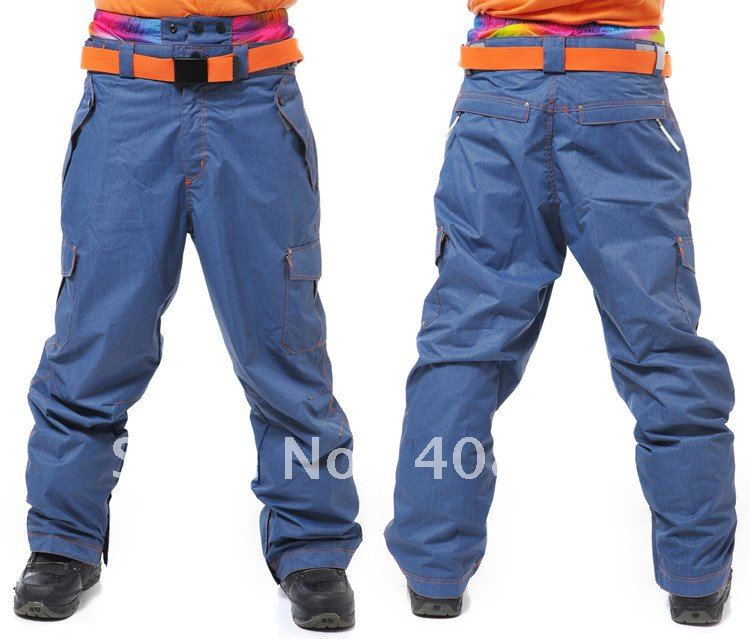 NEW ARRIVE high quality JEAN pant+ski pant ! L-XL available  Snowboard pant for Men Waterproof & Breathable+TWO COLOR