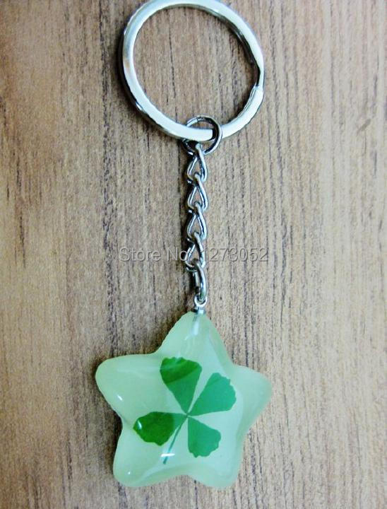 12pc wholesale lots four leaf clover glow in dark five star key-chains bw03012(China (Mainland))