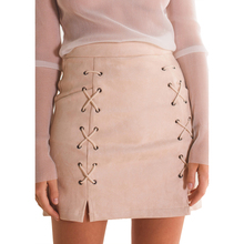 Autumn Winter A-line High Waist Suede Leather Skirt Women Solid Lace up Vintage Preppy Casual Mini Skirts Black Nude(China (Mainland))