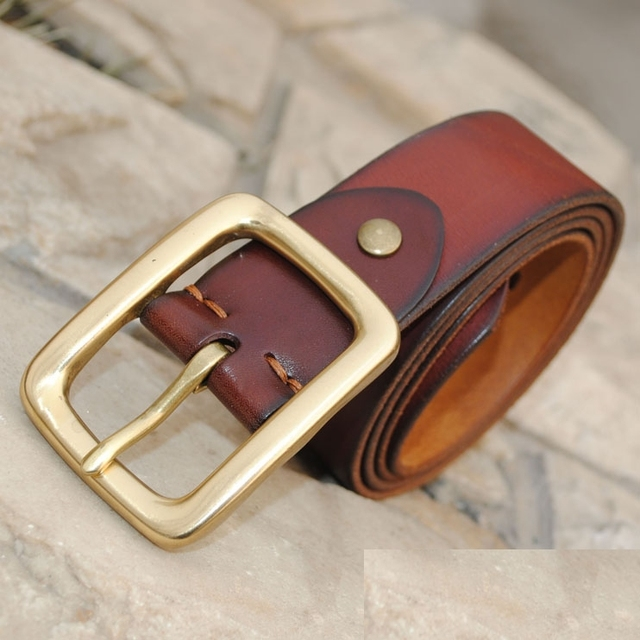 100%  Genuine Leather NEW 2013 Vintage Real Solid Brass buckle Men Strap Gifts For Man Cowhide Leather Male Belt  Cinto MBT0008