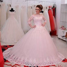 Vestidos De Noiva 2016 Middle East Ball Gowns Backless Lace Dubai Women Bridal Skirt Long Plus Size Wedding Dresses With Sleeves(China (Mainland))