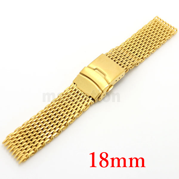 Watch Strap 18mm Golden Stainless Steel Fold over clasp with safety Elegant Bracele for Man Watch Hours GD011018<br><br>Aliexpress