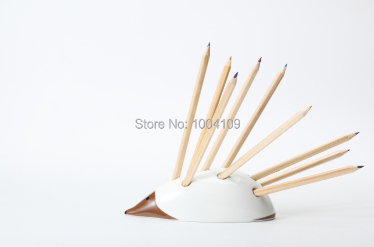 hedgedog ceramic pen holder decorative pen container creative pensil stand novelty unique modern office supplies stational gifts(China (Mainland))
