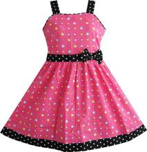 Girls Dress heart print pink Children Clothes Christmas gift Cotton 2016 Summer Princess Wedding Party Dresses Size 4-12