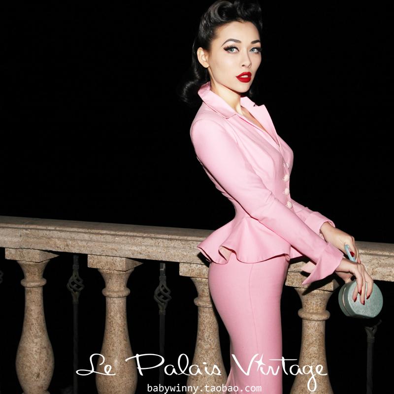 FREE SHIPPING Le palais vintage limited edition vintage elegant pink tight pencil skirt set