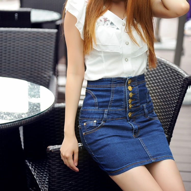 2016 Summer Skirt Women High Waist Single Breasted Denim Skirts Plus Size Hip Package Skirts Harajuku Pencil Skirt Saias Faldas