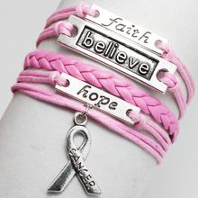 Silver Believe Faith Hope Lucky Wish Round Tree charms bangle wrist wrap Bracelet New cancer breast Ribbon Bracelet for love(China (Mainland))