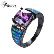 Buy Geometric Style Square AAA Purple Zircon Ring Black Gold Filled Wedding Party Engagement Blue Fire Opal Rings For Women RB0643 for $6.55 in AliExpress store