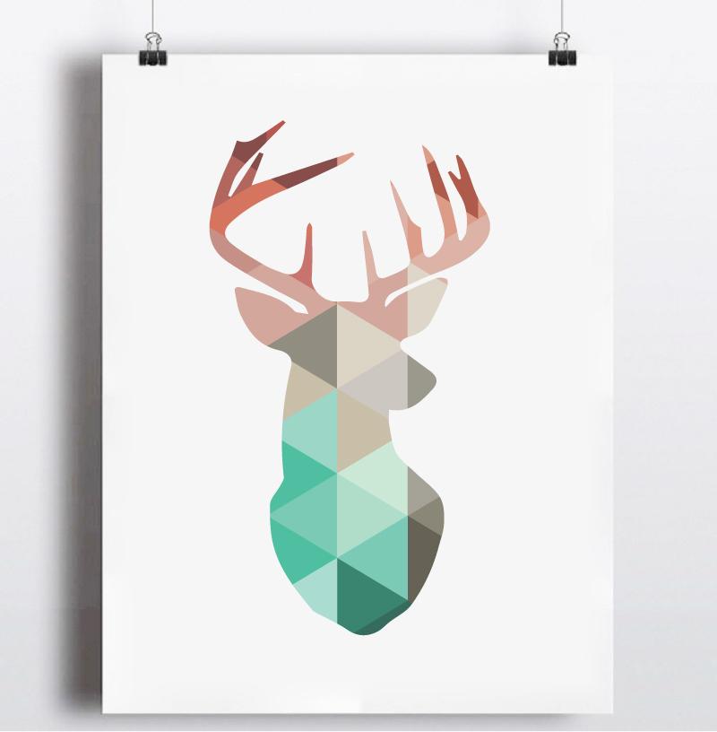 Geometric Purple Deer Wall Art Print Modern Poster Buck: Geometric Coral Deer Head Canvas Art Print Painting Poster