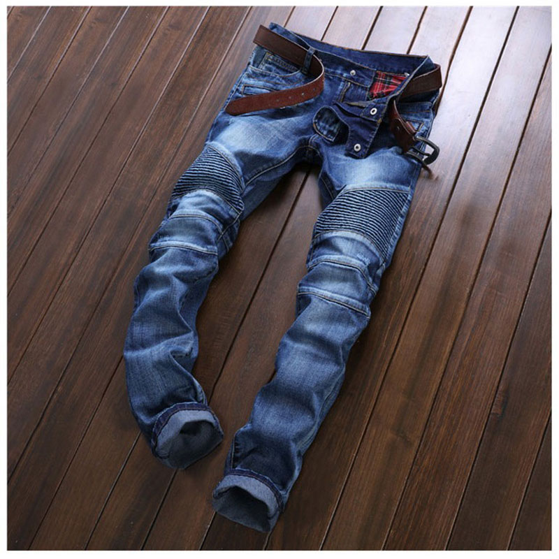 Pleated Men Denim Jeans Pants Famous Brand Washed Ripped Jeans Fashion Designer Biker Jeans Straight Slim Hole Pants Size 29-38