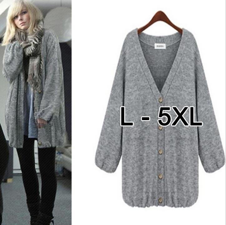 European Winter Casual Button Long Sleeve Plus Size Ladies Coats Women Long Knitted Wool Coat Women Outwear Cardigan XXXXXLОдежда и ак�е��уары<br><br><br>Aliexpress