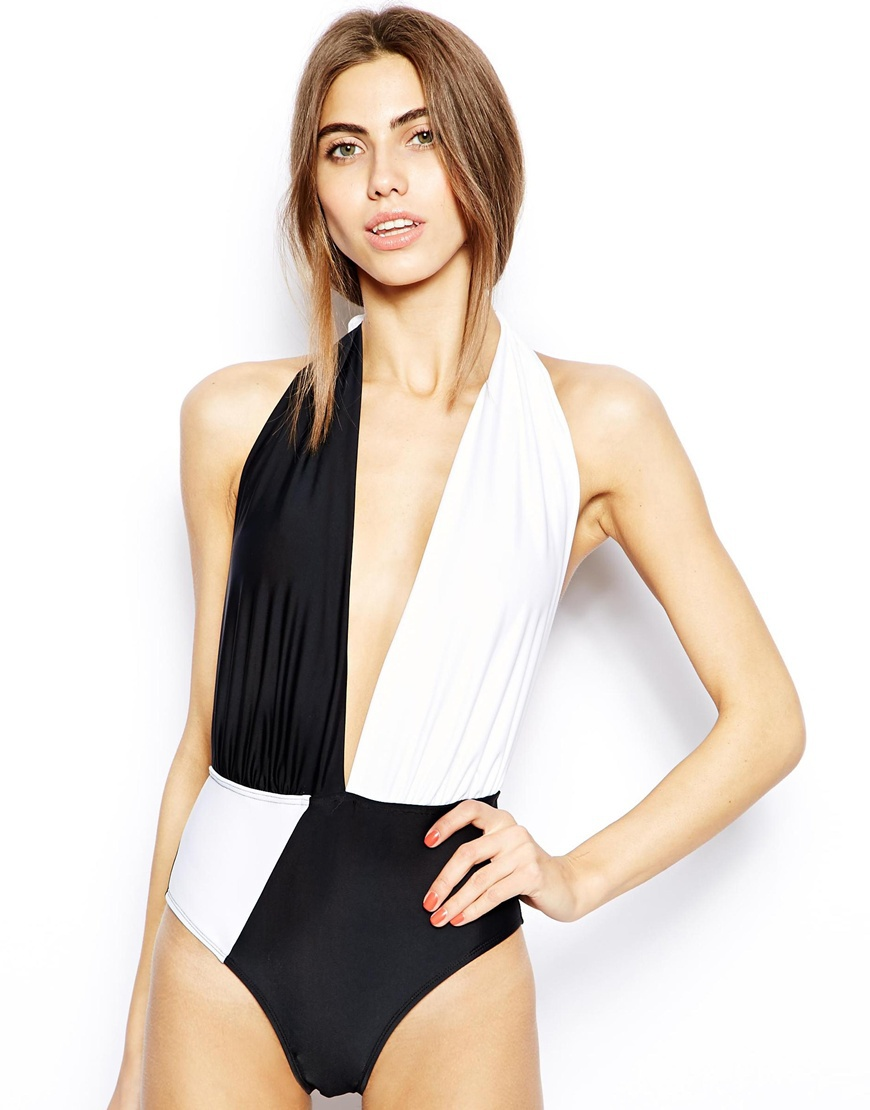 Plunging Halter Swimsuit Halter Plunge One-piece