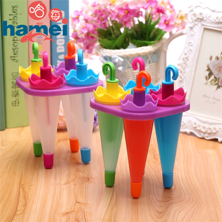 Free Shipping 4PCS Umbrella Popsicle Ice Lolly Mold Frozen Icecream Maker Ice Cube Mould Freezer Kitchen DIY Tool Best Cheapest(China (Mainland))