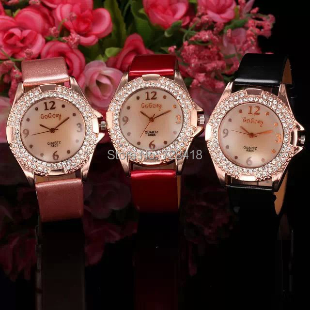 3 Colors Fashion Rhinestone Golden Case Women's Dress Bracelet Bangle Watch Lady's Luxury Clock Hours Relogio - Shenzhen E-Shopping Store store