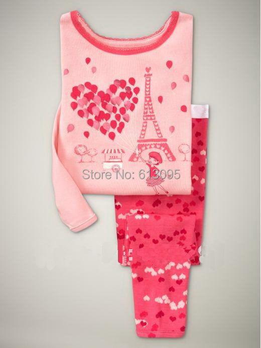 Balloon pattern, 100% Cotton Rib long sleeve T-shirt + pant, Baby Girls/Children pajamas/sleepwear/Clothing Sets 6pcs/lot(China (Mainland))